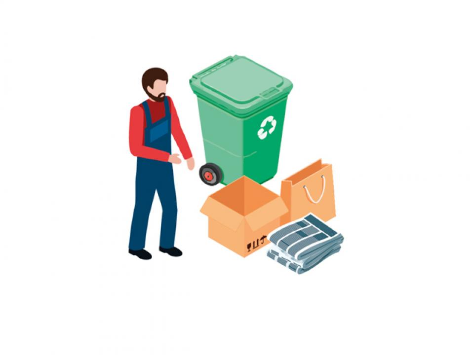 sustainability paper recycling bins